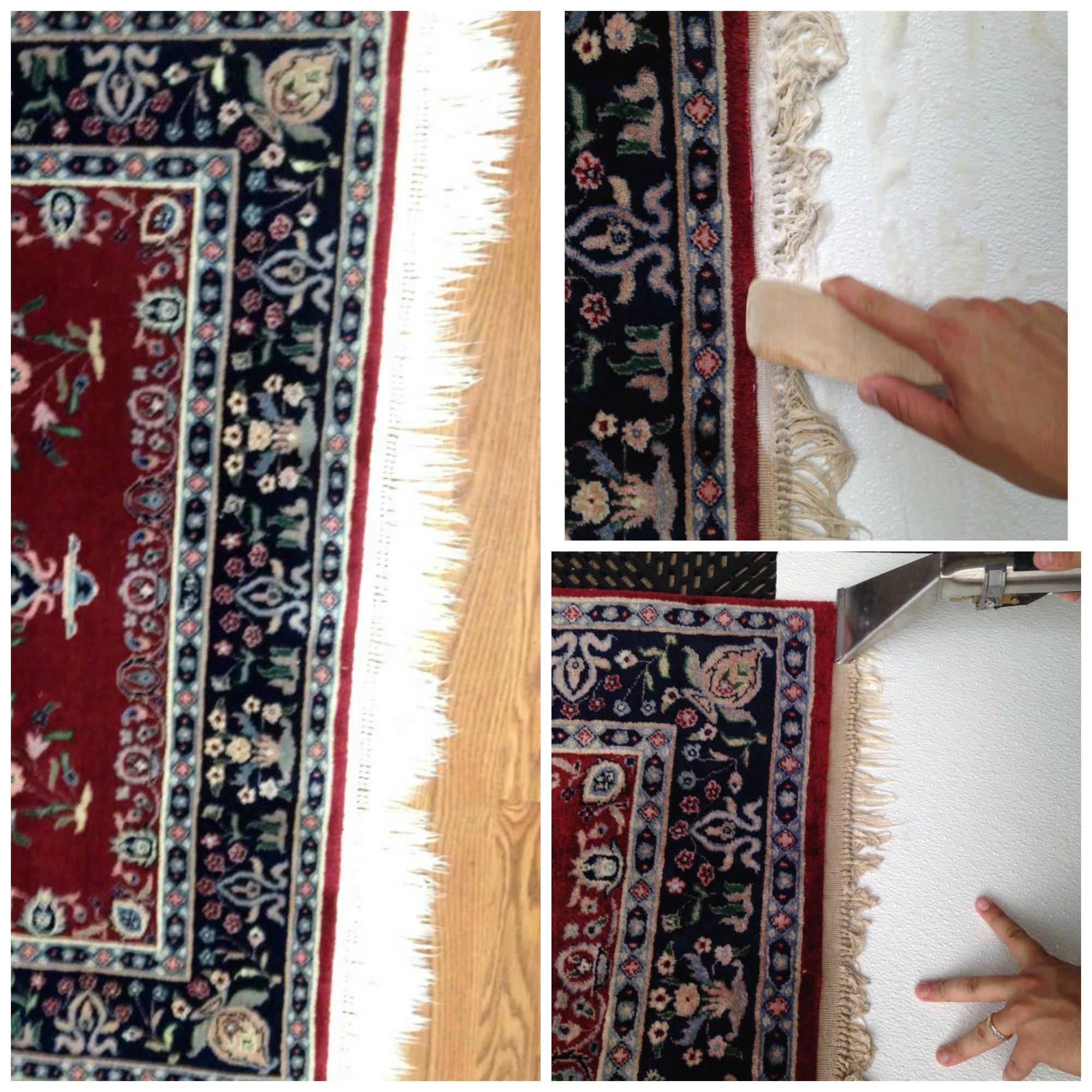 Detailed Hand wash area rugs and fringe cleaning